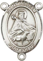 """St. William of Rochester  - .75"""" Oval - Pewter Centerpiece"""