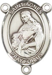 """St. Agnes of Rome - .75"""" Oval - Pewter Centerpiece"""