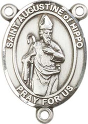 "St. Augustine of Hippo - .75"" Oval - Pewter Centerpiece"