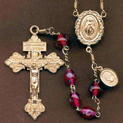 Confirmation rosary handmade by nuns, Garnet Oval Czech Lampwork Rose beads, Gold filled Pardon Crucifix, 8 mm Our Father beads, Holy Spirit side medal