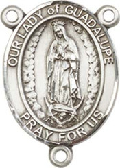 """Our Lady of  Guadalupe- .75"""" Oval - Pewter Centerpiece"""
