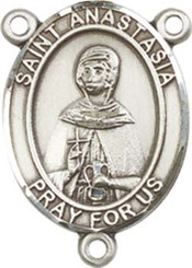 "St. Anastasia - .75"" Oval - Pewter Centerpiece"