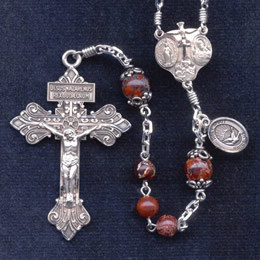 Confirmation rosary handmade by nuns, Poppy Jasper beads, Sterling silver Pardon Crucifix, 8 mm Our Father beads, Antique caps, Holy Spirit side medal