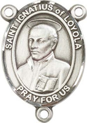 "St. Ignatius of Loyola  - .75"" Oval - Pewter Centerpiece"