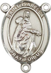 """St. Isabella of Portugal - .75"""" Oval - Pewter Centerpiece"""