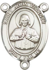"St. John Vianney  - .75"" Oval - Pewter Centerpiece"
