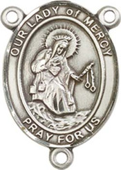 "Our Lady of Mercy - .75"" Oval - Pewter Centerpiece"