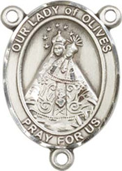 """Our Lady of  Olives - .75"""" Oval - Pewter Centerpiece"""