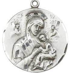 Round Sterling Our Lady of Perpetual Help Medal