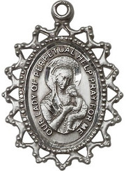 Sterling silver Our Lady of Perpetual Help Filigree Medal