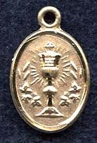 "Holy Eucharist - .50"" oval - Gold Filled Side Medal"