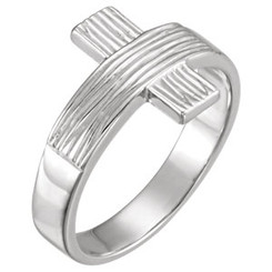 Sterling Silver Rugged Cross Ring - Gents