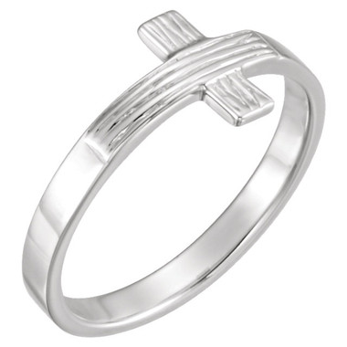 Sterling Silver Rugged Cross Ring - Ladies