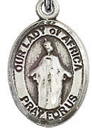 """Our Lady of Africa - .50"""" Oval - Sterling Silver Side Medal"""