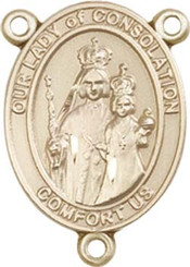 """Our Lady of Consolation- .75"""" Oval - Gold Filled Centerpiece"""
