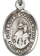 """Our Lady of Consolation - .50"""" Oval - Sterling Silver Side Medal"""