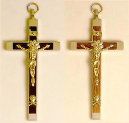 Ebony and rosewood brass crucifix