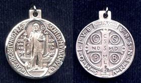 """St. Benedict Medal - .625"""" - Sterling Silver Side Medal"""
