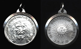 """Holy Face - .50"""" - Sterling Silver Side Medal"""