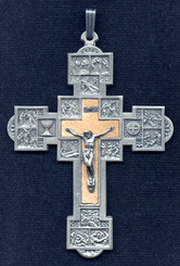 """Stations of the Cross Crucifix - 2.25"""" - Silver Oxidized"""