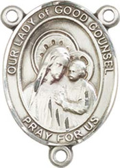 """Our Lady of  Good Counsel - .75"""" Oval - Sterling Silver Centerpiece"""