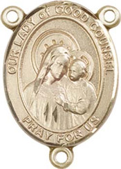 """Our Lady of Good Counsel - .75"""" Oval - Gold Filled Centerpiece"""