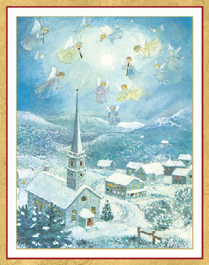 Angels Over Bethlehem Christmas Card