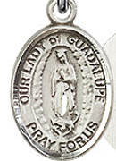 """Our Lady of Guadalupe - .50"""" Oval - Sterling Silver Side Medal"""