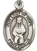 """Our Lady of Hope - .50"""" Oval - Sterling Silver Side Medal"""