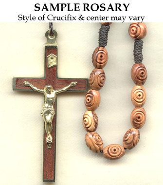 Carved Oval Olive Wood Sample Rosary