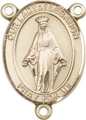 """Our Lady of Lebanon - .75"""" Oval - Gold Filled Centerpiece"""
