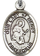 "Our Lady of Mercy - .50"" Oval - Sterling Silver Side Medal"