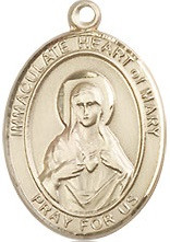 """Immaculate Heart of Mary Medal - .75"""" - Gold Filled"""