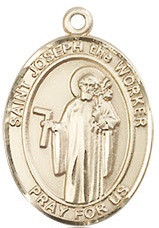 "St. Joseph the Worker Medal - .75"" - Gold Filled"