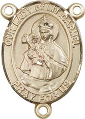 """Our Lady of Mount Carmel - .75"""" Oval - Gold Filled Centerpiece"""