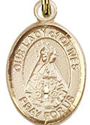 "Our Lady of Olives - .50"" Oval - Gold Filled Side Medal"