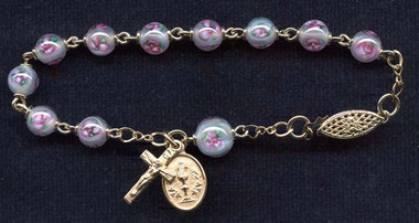 SAMPLE Gold Filled Czech Lampwork Rosary Bracelet