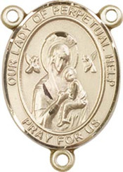 """Our Lady of Perpetual Help - .75"""" Oval - Gold Filled Centerpiece"""