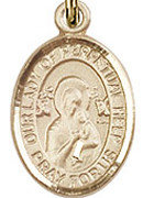 "Our Lady of Perpetual Help - .50"" Oval - Gold Filled Side Medal"