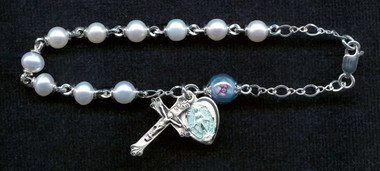 SAMPLE Sterling Silver Pearl Rosary Bracelet