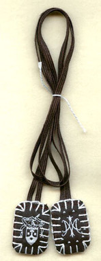 Small Scapular with White/Brown Label and Brown Strings