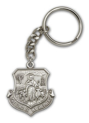 Good Shepherd key chain with silver finish