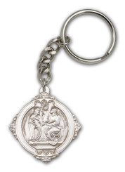 Holy Family key chain with silver finish