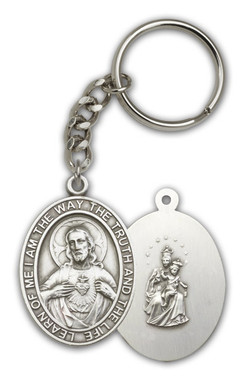 Sacred Heart key chain with silver finish