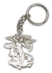 St. Michael key chain with silver finish