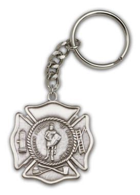 St. Florian key chain with silver finish