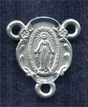 "Floral Miraculous Medal - .4"" - Pewter Centerpiece"