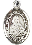 "Our Lady of the Railroad - .50"" Oval - Sterling Silver Side Medal"