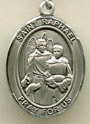 "$33.95 - St. Raphael - .75"" - Sterling Silver  Medal"