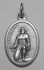 """$3.00 - St. Peregrine Medal - .75"""" - Nickel Silver"""